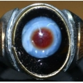 Natural Occurring Nazar Evil Eye Ring, Khodamic Talisman (order now)