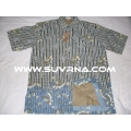 Elegant Polyster Cotton Batik Men's Short Sleeves Shirt BROWN/RED Gold trimmings or Stripes XL04 BUY IT NOW.