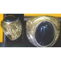 Yellow Steel Ring Magickal Alloy Invulnerability Protection With Black Lightning Stone. Order now